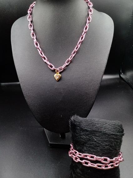 Colar E Pulseira Moda Rosa Chain Moda Tendência 2020