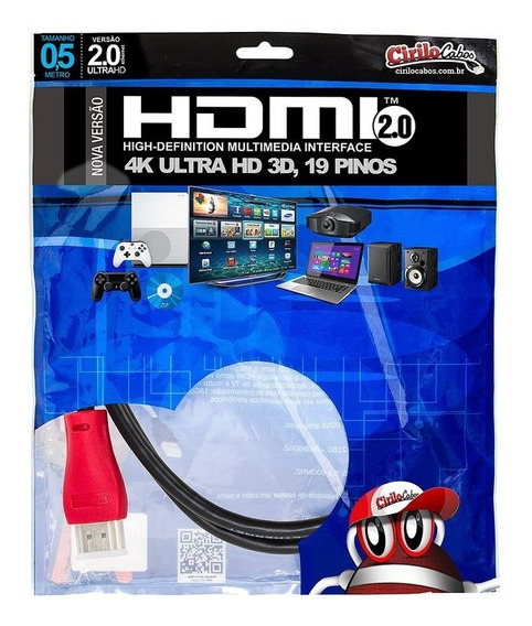 Cabo Hdmi 2.0, 4k, Ultra Hd, 3d Com 50 Centímetros