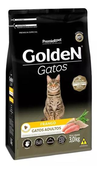 Ração Golden Premium Gatos Adultos Sabor Frango 3kg