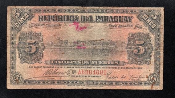 Paraguay Billete 5 Pesos Fuertes Año 1923 P#149
