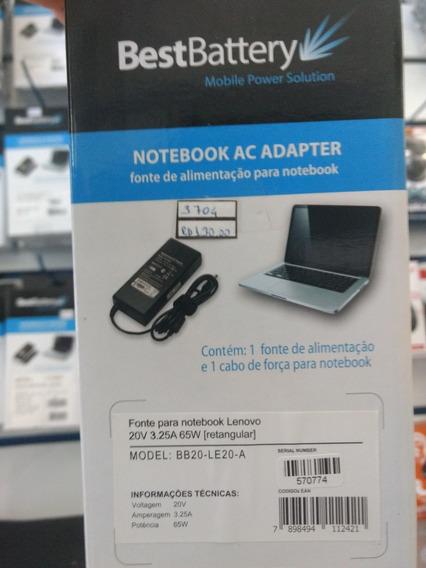 Fonte (carregador) Notebook Lenovo 20v 3.25a 65w Retangular