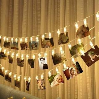 Portaretratos Pinzas Luces Led Decorativas Fotos 2m Vintage