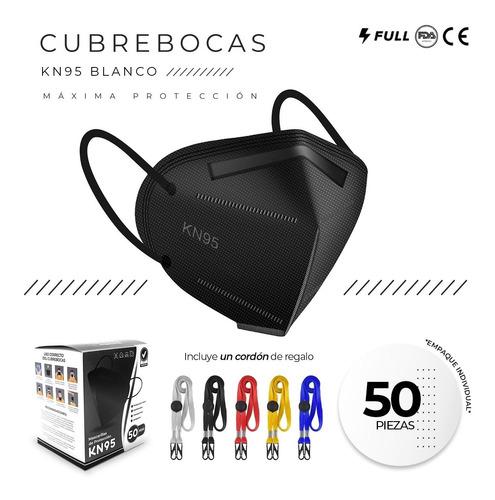 Imagen 1 de 9 de Cubrebocas Kn95 Tapabocas 50 Pz Reutilizables 5 Capas Negro