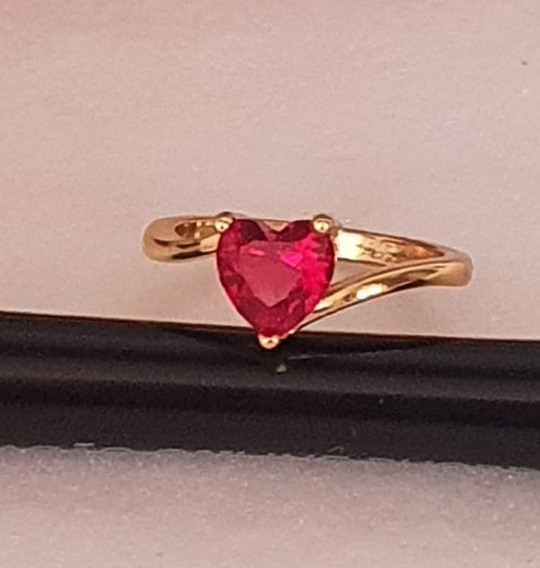 Anel Prata Banhado A Ouro Pedra Zirconea Ruby Frete Gratis