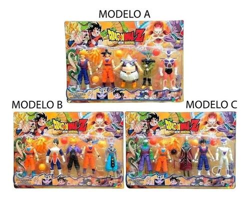 1 Cartela Com 5 Bonecos Dragon Ball Articulado 15 Cm