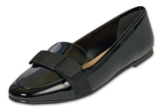 Calzado Dama Mujer Zapato Flat Casual Charol En Negro Comodo
