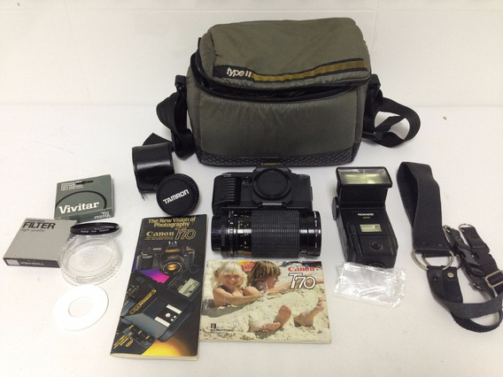 Câmera Canon T70 Lentes Toshiba Flash Promaster 5600