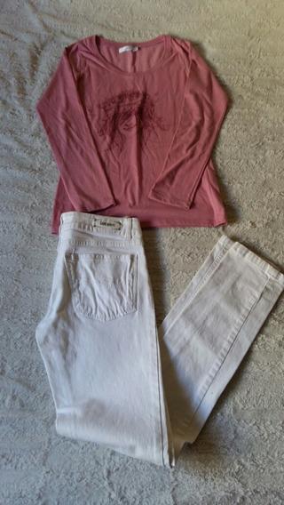 Como Quieres Remera M Larga 38 (s) + Pantalón Blanco 42 ( S)
