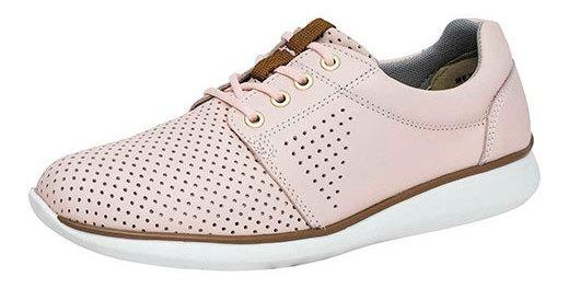 Zapato Piso Mujer Flexi Rosa Piel Perforado D90456 Udt