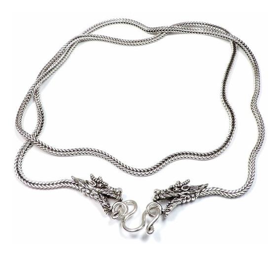 Cordão Corrente Prata Snake Dragão 60cm 23g Berkat Sku 362