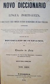 Livro Antigo Novo Diccionario Da Lingua Portugueza - 1850