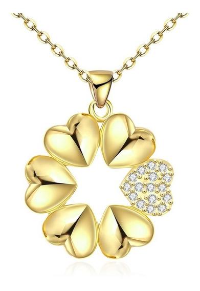 Colar Feminino Corrente E Pingente Corações Estrela Banho Ouro Amarelo 18k + Cristais Zircônia Alto Brilho E Qualidade
