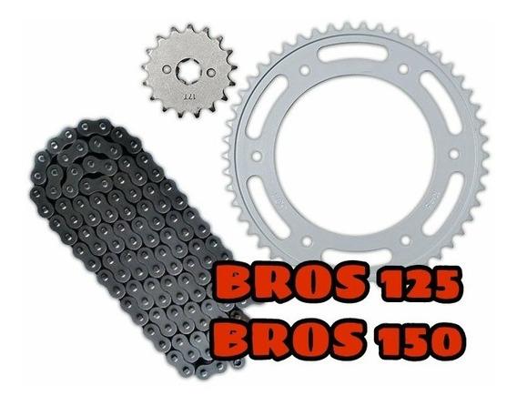 Kit Relacao Transmissao Nxr Bros 125 150 Aço Reforçado 1045