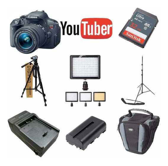 Kit Youtuber Canon T6i 32gb + Tripe Led 160 Bat Carregador