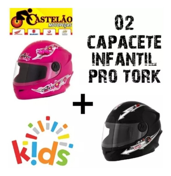 Capacete Infantil Moto Criança Pro Tork Liberty Kit 02