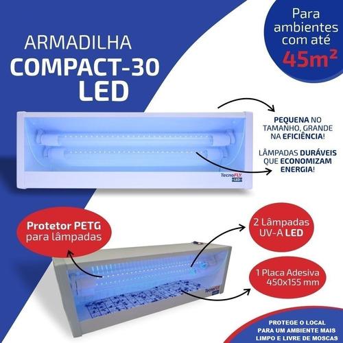 Armadilha Luminosa Led New Compact 30 Mata Mosca Bivolt +nf