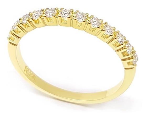 Anel Aparador Aliança Ouro 18k 750 Joia Com Diamantes