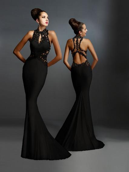 Vestido Negro Sirena Largo ¡descuento Últimos Talles! G17