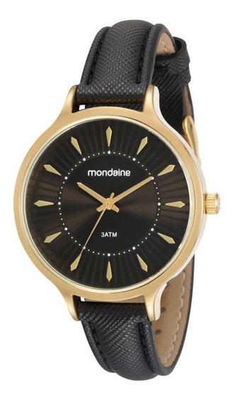 Relógio Feminino Mondaine Dourado Pulseira Couro Preta + Nf