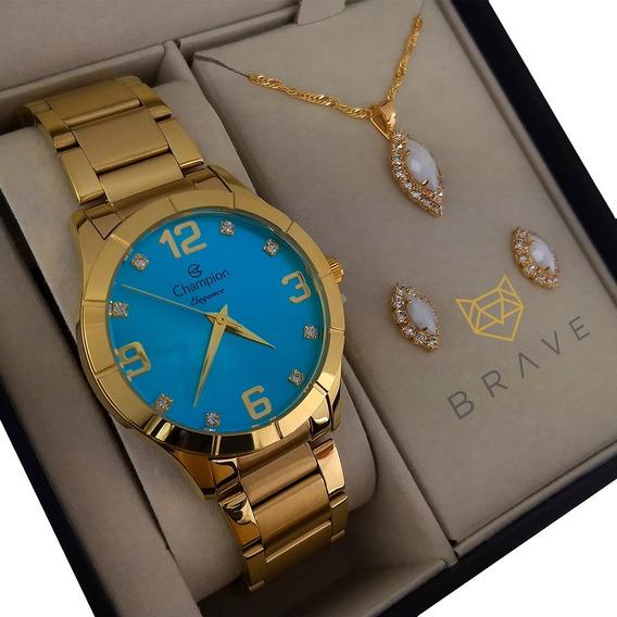 Relógio Champion Feminino Dourado Ouro + Colar E Brincos Nf