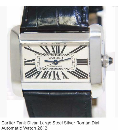 Cartier Tank Divan Large Stel Silver Automático Ref 2612