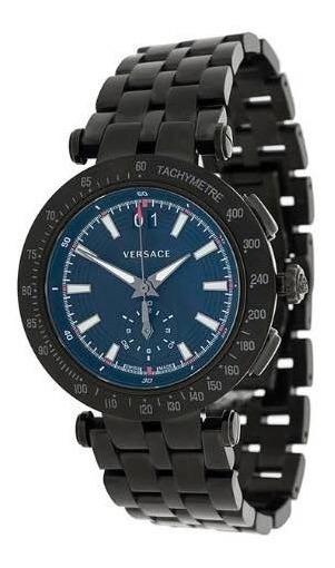 Relógio V-race Em Aço Inoxidável E Safira Versace