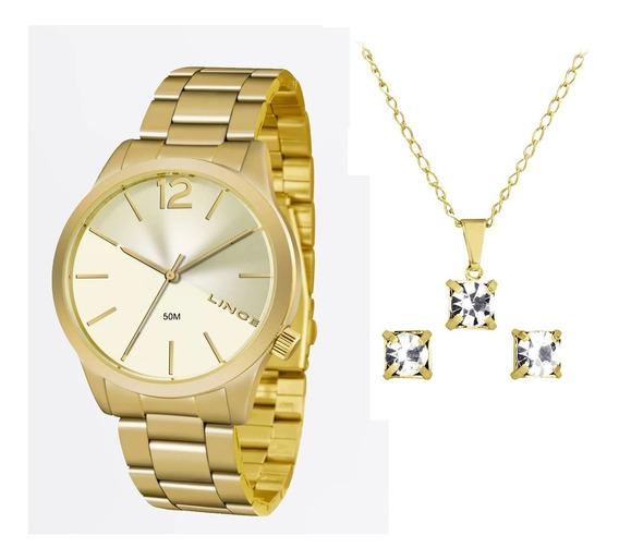 Kit Relógio Lince Feminino Dourado Lrgj079l C2kx Original