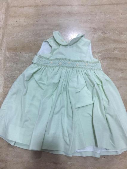 Vestido Niña Talla 2 Nido De Abeja Español Verde (a20)