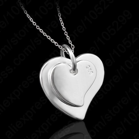 Colar Com Pingente De Coração Em Prata Esterlina - Prata 925