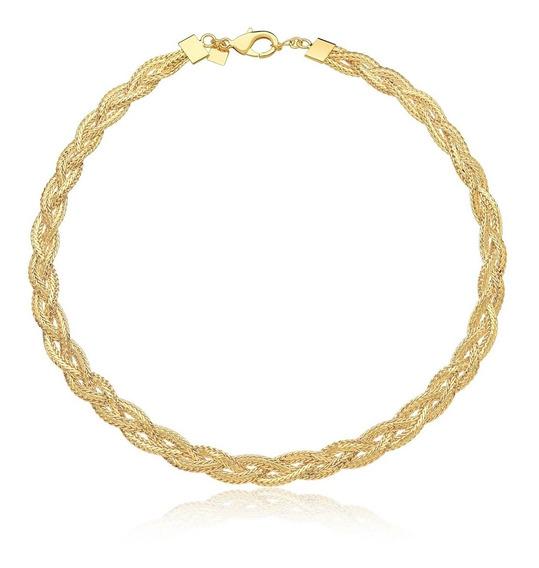 Colar Feminino Choker Dourada Aro Semi Jóia Banhado Ouro