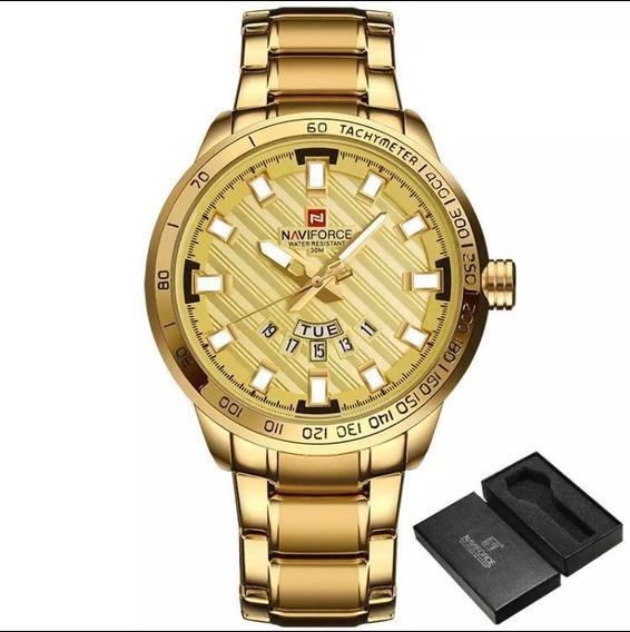 Relógio Masculino Naviforce Dourado Nf9090 + Caixa + Brinde