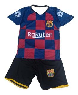 Uniforme Infantil Barcelona Ou Psg + Meião Caneleira Bola