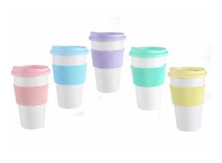 Vaso Térmico Con Tapa Faja Color Pastel - Simil Starbucks
