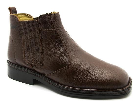 Botina Masculina 1000 Em Couro Floater Café Doctor Shoes