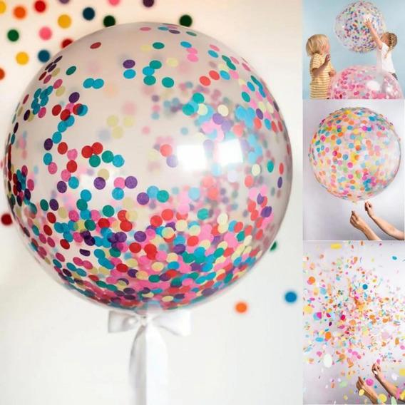 Globo Burbuja Pvc 45 Cm + Confeti Multicolor Deco Colores