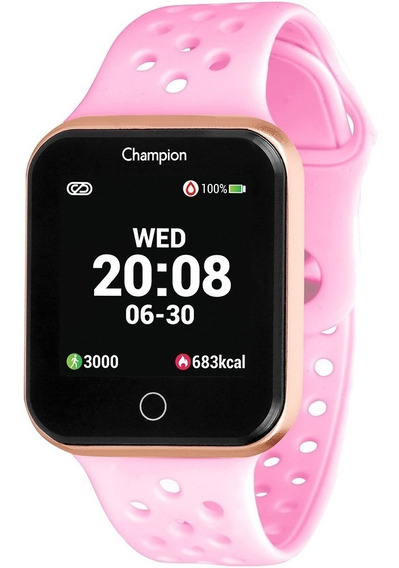 Smartwatch Champion Ch50006r Dourado Pulseira Rosa