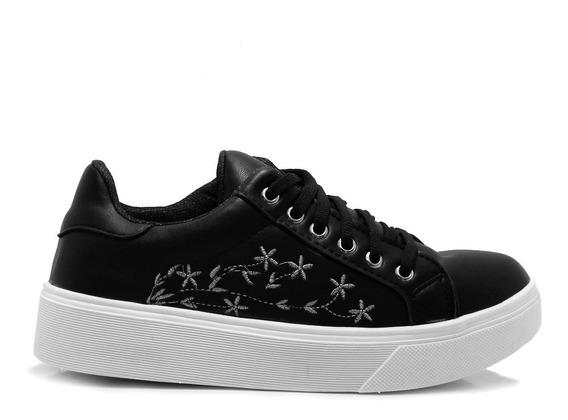 Zapatos Zapatillas Blanca Negra Sneaker Plataforma Hotsale
