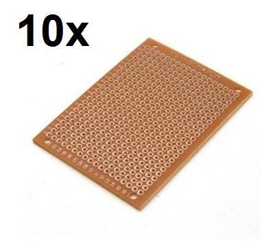 10x Placa De Fenolite Ilhada 5x7 Cm Pcb Perfurada Protótipo