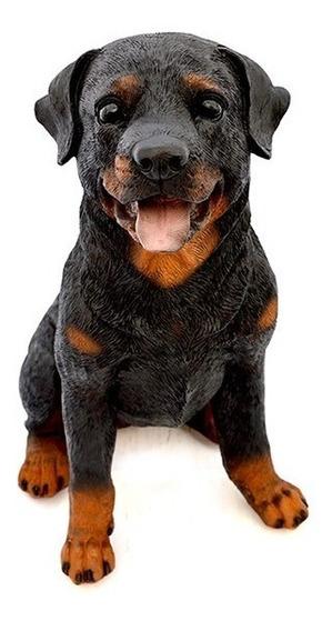 Cachorro Rottweiler Escultura Resina Decorativa Jardim