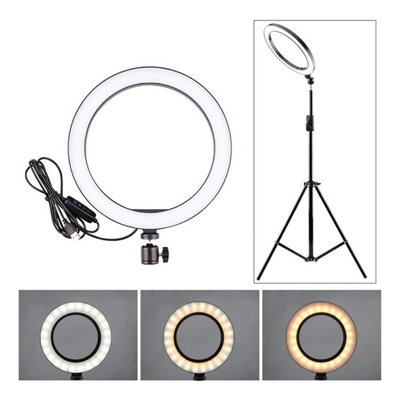 Ring Light Led 10 Polegadas Iluminador De Led + Tripé 215cm