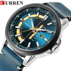 Relógio Curren 8307 Original De Luxo Com Calendário De Couro