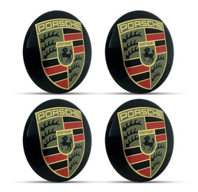 Jogo 4 Emblema Logo Adesivo Roda Porsche 51mm