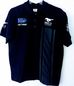 Playera Polo Ford Mustang 50 Años Negra Racing O Camisa