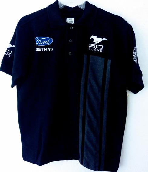 Playera Polo Ford Mustang 50 Años Negra Racing O Camisa