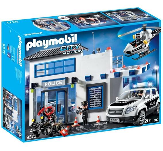 Posto Policial Helicóptero E Carro De Polícia Playmobil 9372