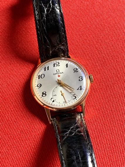 Relógio Omega Estrela Vermelha Ouro 18 Quilates Maciço.