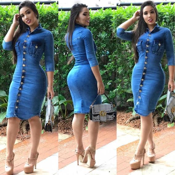 Vestido Jeans Com Elastano E Botões-vestidos Jeans Estilosos.