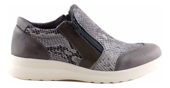 Zapatilla Zapato Cuero Mujer Briganti Base Goma - Mczp05213
