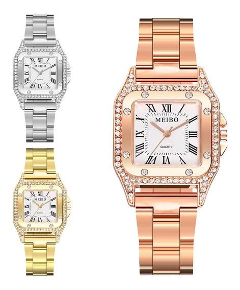 Lindo Relógio De Pulso Feminino Dourado Prata Rose Elegante