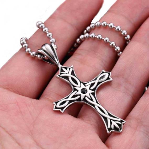 Corrente Cordao Aço Inoxidavel Crucifixo Tribal Viking Cruz